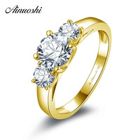 AINUOSHI Three Stone Round Ring 14K Solid White/Yellow Gold Prong Setting 1 CT SONA Diamond Woman Wedding Band Engagement Ring
