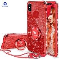 Ocyclone iPhone X caso suave brillo lindo brillante caja del teléfono niñas con Kickstand Bling diamante Rhinestone anillo