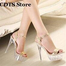 CDTS Plus:35-43 Summer transparent platforms Crossdresser Sandals 14cm Thin heels shoes woman Gold/Sliver Party Buckle pumps