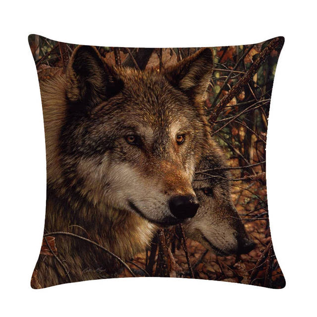 Domineering Animals Cushion Cover Wolf Tiger Bear Fox Throw Pillow Case 45 45cm Square Couch Outdoor Rock Chair Decoration Zy277 Cushion Cover Aliexpress