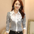 Elegant Lace Chiffon Blouse With Long Sleeves Women 2016 Autumn New Fashion Striped Women Office Shirts Korean Style Women Tops