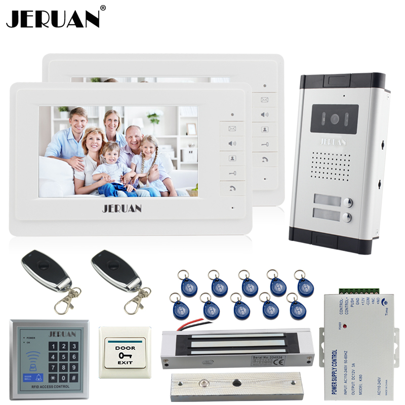 JERUAN Apartment 7 Video Intercom Door Phone System kit 2 Monitor 700TVL Camera RFID Access Control For 2 Household In Stock jeruan home 7 video door phone intercom system kit 1 white monitor metal 700tvl ir pinhole camera rfid access control in stock