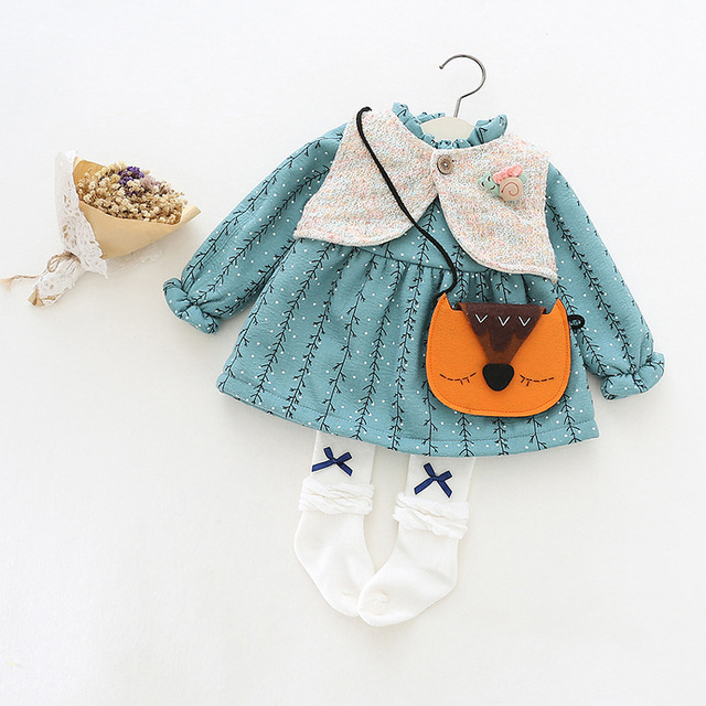 2016 новая коллекция весна и осень детское платье девушка платье принцессы платье 100% хлопок жилет + платье 2 шт. дети девушки бесплатно доставка