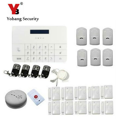 YobangSecurity Wireless Home GSM SMS Security Burglar Sim Card Alarm Kit System LCD Auto Dialing Dialer Call Wireless GSM Host 2 receivers 60 buzzers wireless restaurant buzzer caller table call calling button waiter pager system
