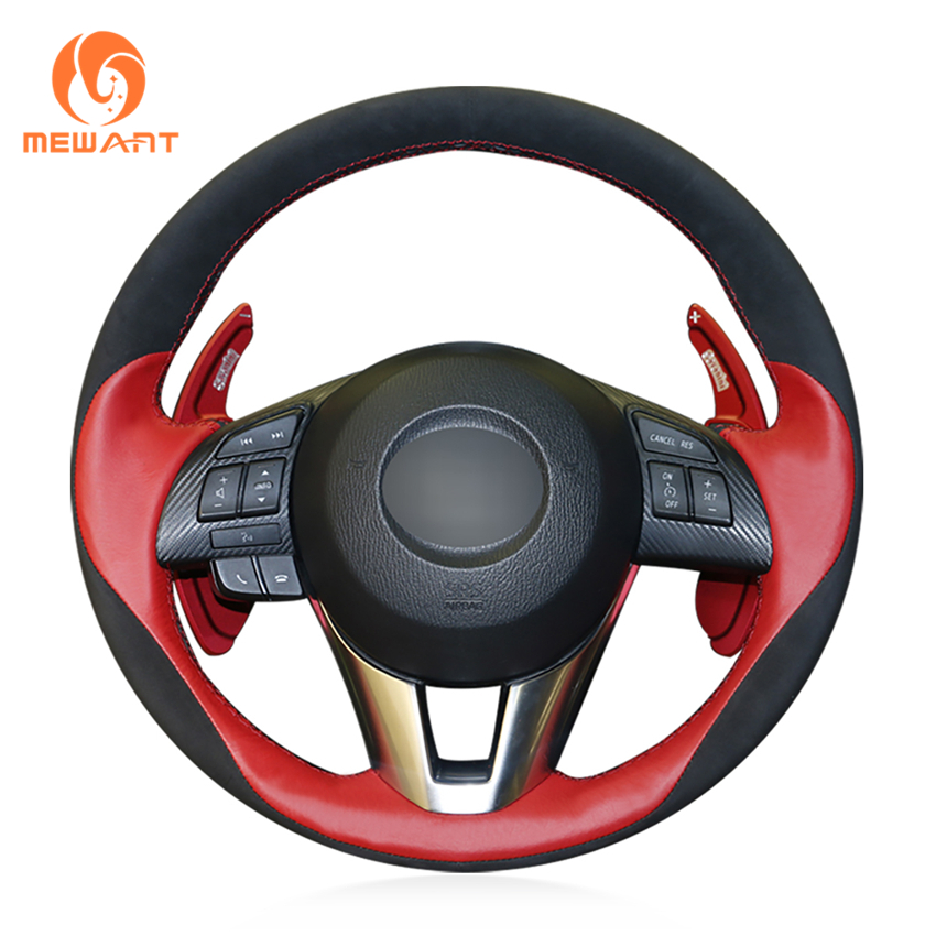 MEWANT Black Suede Red Leather Car Steering Wheel Cover for Mazda 3 Axela 2013-2016 Mazda 6 Atenza 2014-2017 Mazda 2 2015-2017 цены