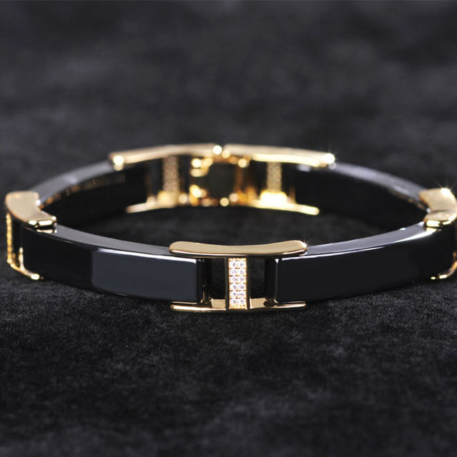 Black White Ceramic Bracelet Bangle Gold Plated Copper Filled Zircon Lover Bangles Brand Charm bracelet Women Men bijouterie