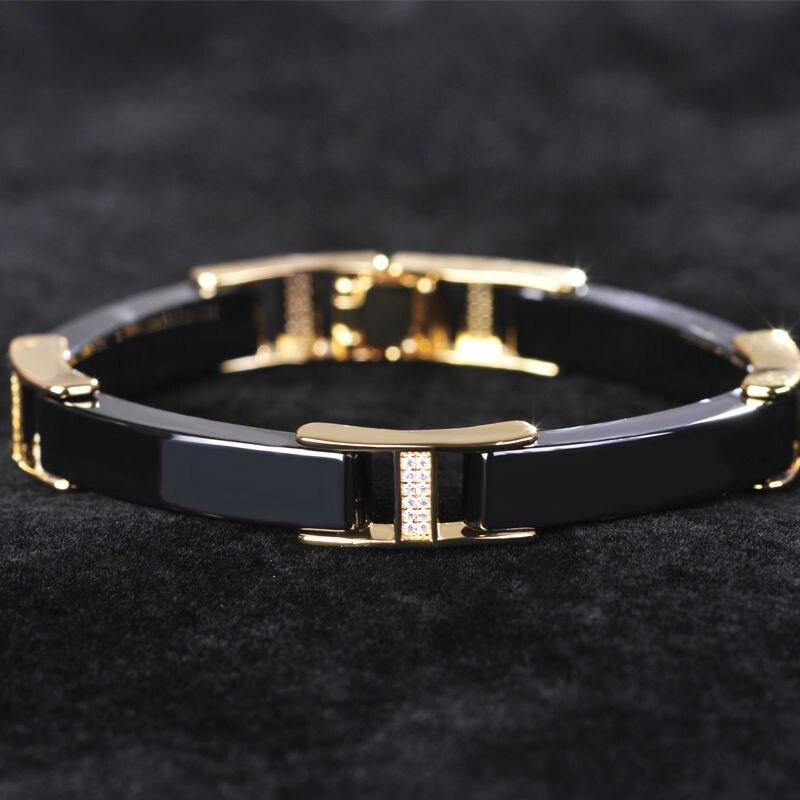Black White Ceramic Bracelet Bangle Gold color Copper Filled ...