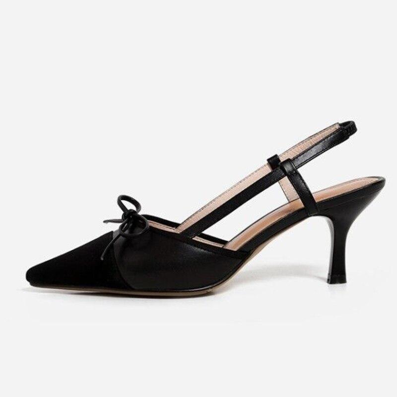 Sexy noir Bout Femme Chaussures blanc Sandales Cuir Talons Bureau Stiletto Slingback Pointu D'été En Hauts Apricot Isnom Femmes 5g7aqa