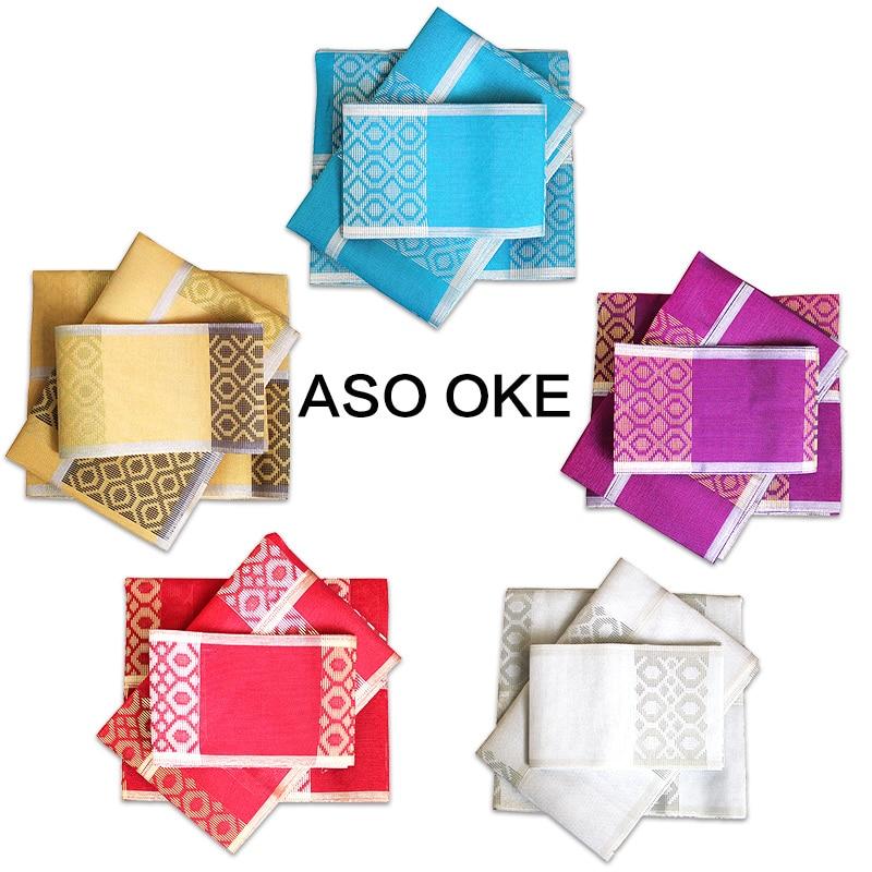 Afrikanske kvinners Aso Oke Headtie Polyester Fabric Ikke Lett - Nasjonale klær - Bilde 6