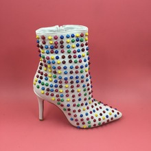 Colorful Rivets Winter Boots Women Ankle Boots For Women Pointed Toe High Heels 12Cm Stilettos Real Photos Ladies Shoes White