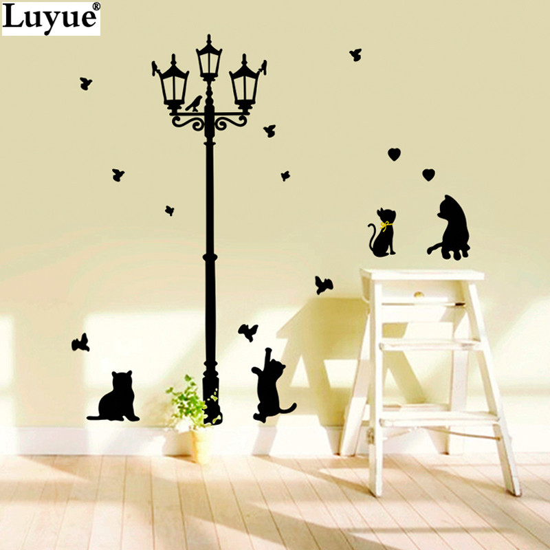 New hot naughty cats birds and street light lamp post wall new hot naughty cats birds and street light lamp post wall stickers home decoration school room kindergarten wall sticker 7style in wall stickers from home thecheapjerseys Choice Image