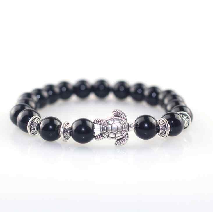 Высокое качество натуральный 8 мм розовый кристаллический камень черный обсидиан камень браслет из бисера черепаха Шарм подарок браслет для женщин мужские ювелирные изделия