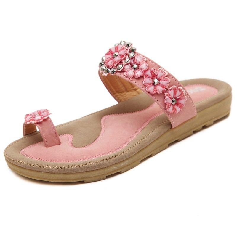 SIKETU Sweet Lady Summer Bohemian Step-In Rhinestone Sticked Shoes Women 2017 Cool Wearing Easy Taking Female Shoe Freeship