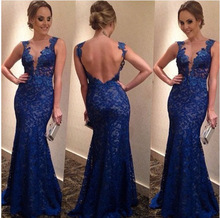 Summer Style Dress Blue  Red Lace Backless Deep V -Neck Dresses Slim Hip  Sexy 9d1b0e8d2cea