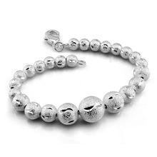 High quality sterling silver woman bracelet. Solid 925 Silver Scrub Round 19cm Bracelet. Fashion Glamour Lady Jewelry