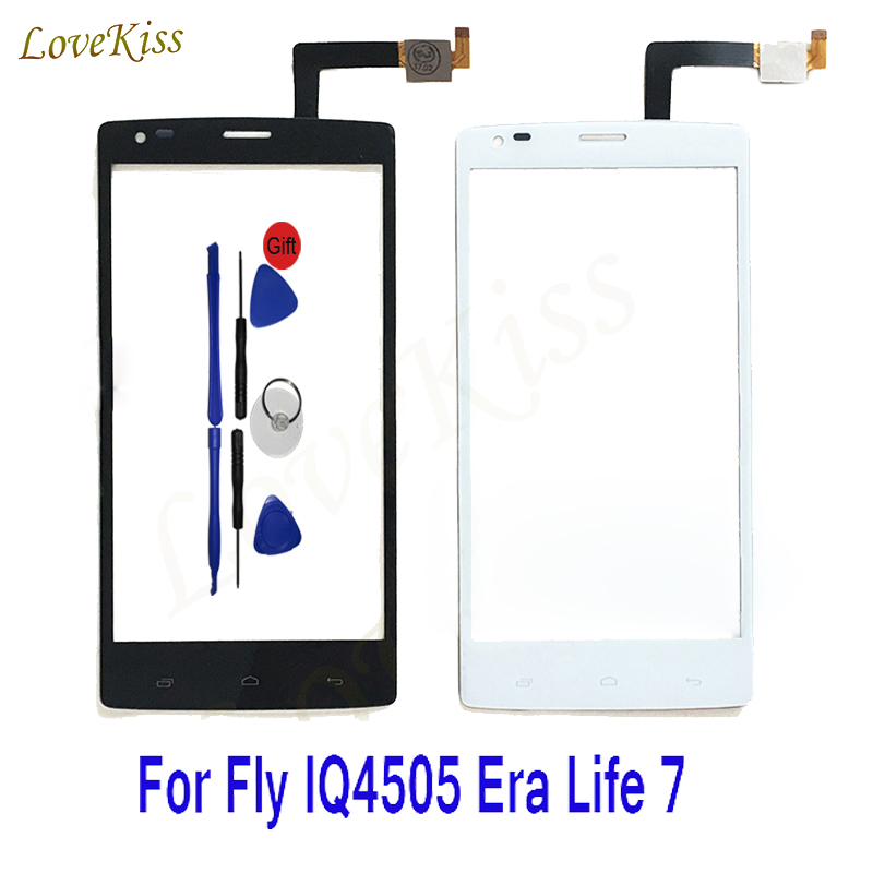 For Fly IQ4505 Era Life 7 IQ 4505 5.0 Touch Screen Panel Digitizer Sensor Capactive Replacement Front Outer Glass Lens + Tools