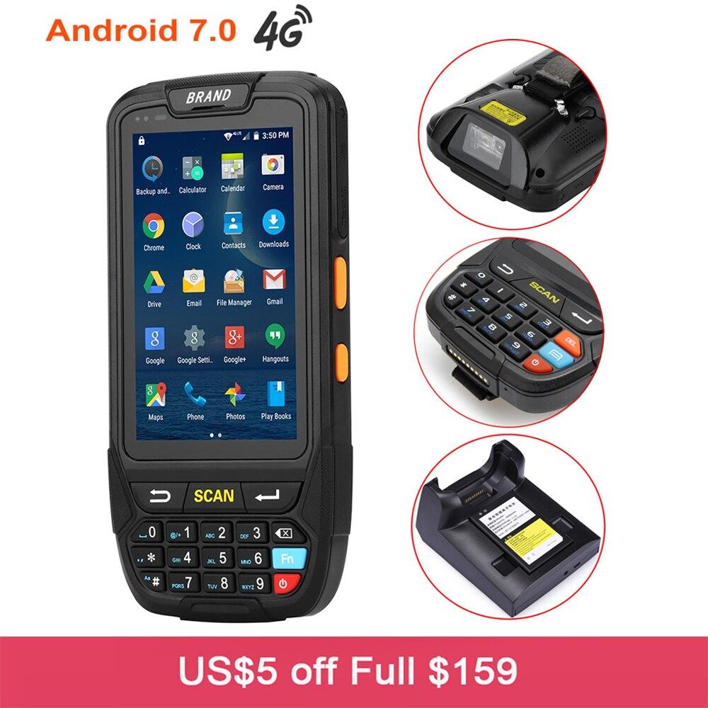 Terminal de Dados sem fio Android 7.0 PDA Handheld Inteligente 2D Portátil Leitor de código de Barras QR Barcode Scanner com Wifi GPS Bluetooth