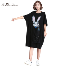 BelineRosa 2017 Women's Summer Casual Shirt Dresses Fashion Brand Designer Style Cool Rabbit Tunic Women HS000358