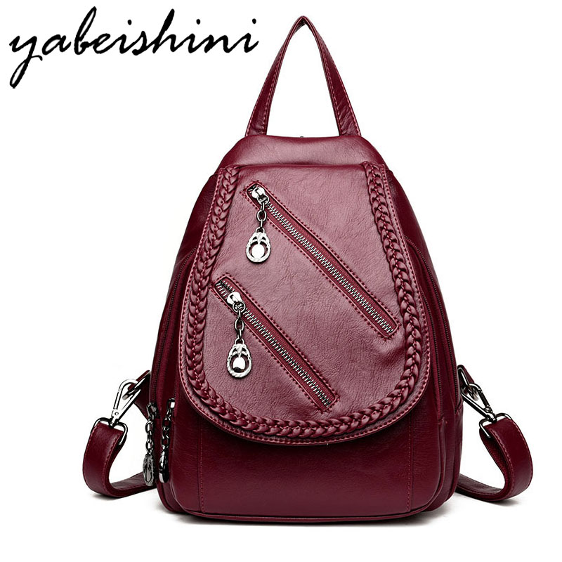 цена Backpack Women Backpacks Preppy Style Weaving Zipper Solid High Quality Leather Backpack Small School Bags For Girls Softback