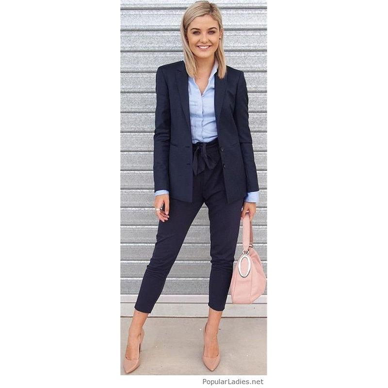 Navy 2 Piece Set Womens Business Suits Ladies Office -7650