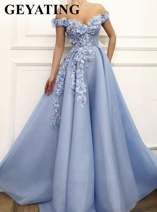 Robe dubai soiree 2019 Elegant Off the Shoulder Sky Blue Arabic   Evening     Dress   with 3D Flowers Appliques Beaded Formal Party Gown