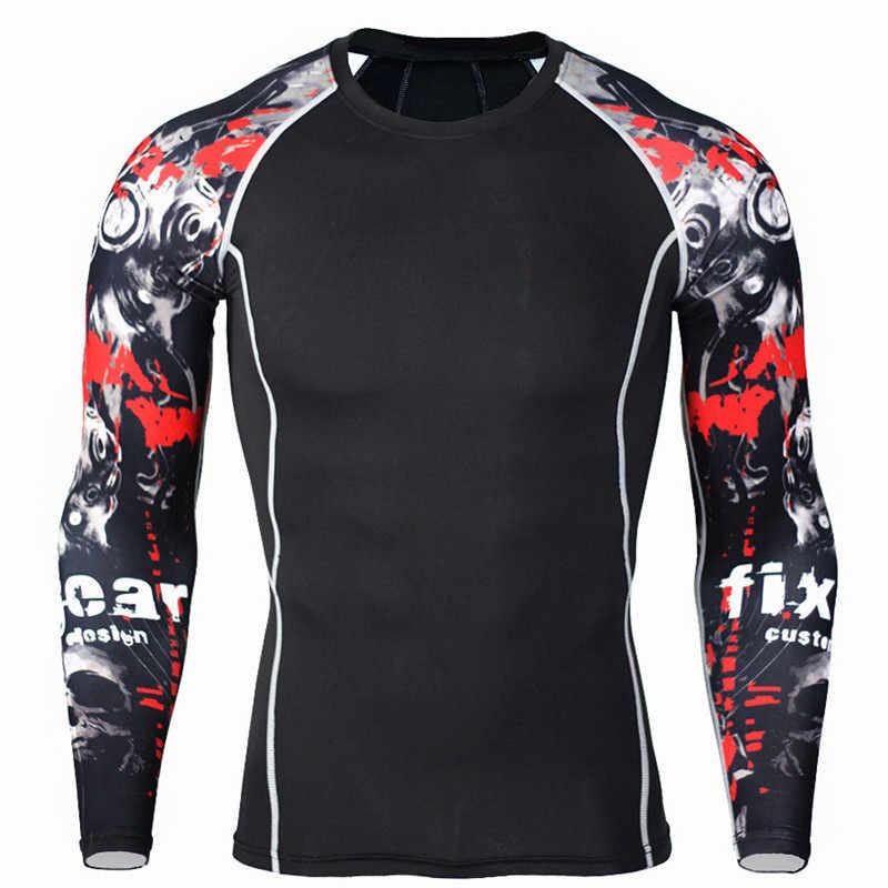 Мужские сжатия ММА Длинные рукава футболка 3d печатных рубашку тренажерные залы Фитнес бодибилдинг одежда человек джоггеры тренировки кожу жесткой tee
