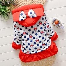 Belababy Girls Winter Coat Children Cute Polka Dot Hooded Down Jacket Kids Girl Warm Outwear Baby Girls Fashion Cartoon Clothes