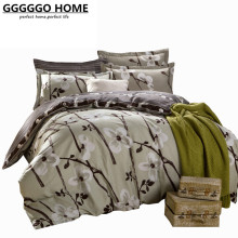 GGGGGO HOME 4PCS BEDDING SET 100% COTTON FABRIC DUVET COVER SET PLANT PRINT KING/QUEEN/FULL/TWIN SIZE BED SET/BED SHEET/DUVET