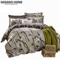 GGGGGO בית 4 יחידות סט מצעים סט כיסוי שמיכה 100% בד כותנה הדפסת צמח מלך/מלכה/מלא/גודל תאום סט המיטה/סדין/שמיכה