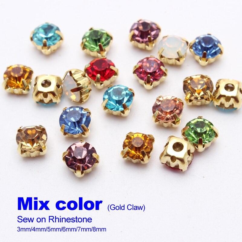 Бесплатная доставка Смешанные цвета пришить стразы 4 мм 5 мм 6 мм 7 мм 8 мм золото/серебро когти устанавливающие кристаллы и камни для DIY аксессуары