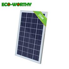 ECOworthy 25W 16V polikrystaliczny panel na energię słoneczną z kablami moduł słoneczny PV RV obóz dla 12V ładowarka do baterii 25W domu ogród tanie tanio ECO-WORTHY Panel słoneczny 520*365*18mm(0 5 x14 4 x0 7 ) L02P25X-CBW-1 Krzem polikrystaliczny