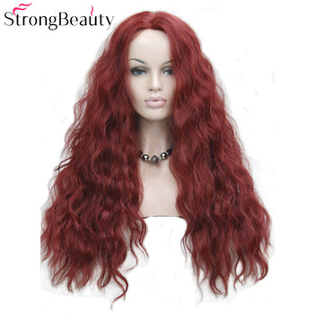 StrongBeauty Synthetic Wig Wavy Red/Blonde Lace Front Wigs