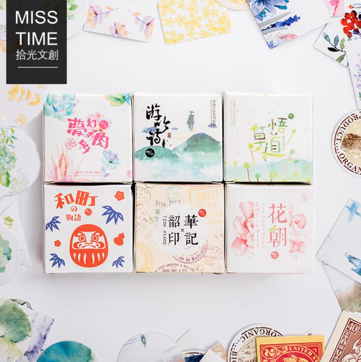 40 pcs/pack MissTime New Series Label Stickers Set Decorative Stationery Stickers Scrapbooking DIY Diary Album Stick Lable spring and fall leaves shape pvc environmental stickers decorative diy scrapbooking keyboard personal diary stationery stickers