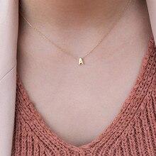 Ahmed простой: золото, серебро цвет A-Z 26 букв кулон ожерелье s для женщин DIY Имя колье ювелирные изделия вечерние подарки