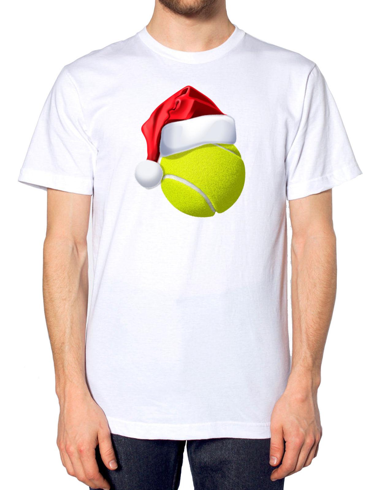 Tenniser Ball Christmas Santa Hat T Shirt Sportsman Festive Novelty Joke Gift