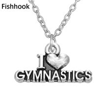 Fishhook 2017 Fashion High Quality Antique Silver Plate I love Gymnastics Pendant Men Women Necklace Sport Jewelry(China)