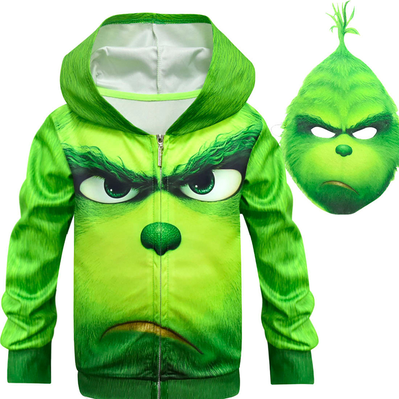 New Green Cosplay Costume Zipper coat Mask Halloween Christmas Carnival Long Sleeve Costume for Children Sportswear Clothes Boy