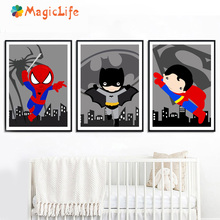 Cartoon Batman Spiderman Wall Art Decoration Pictures Canvas Painting Superhero Movie For Kid Room Poster Unframed