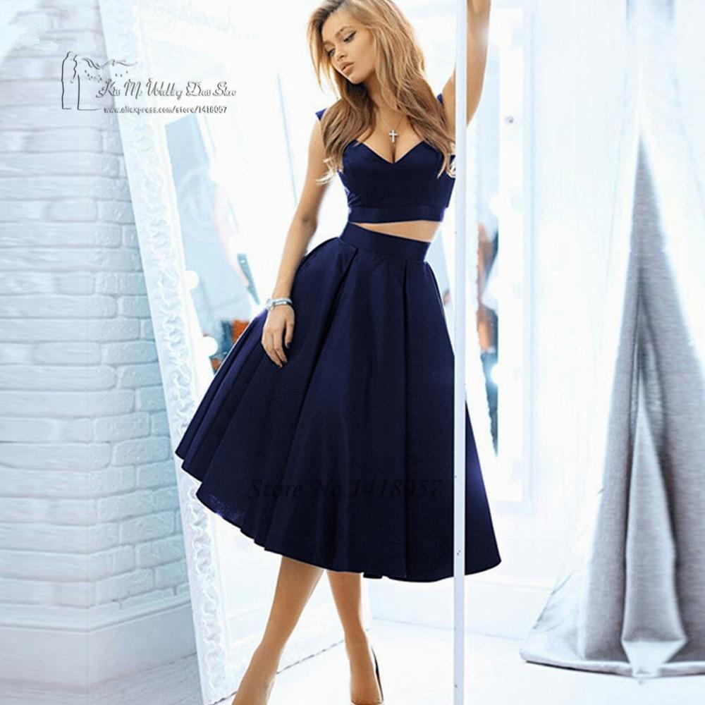 Abendkleider 2017 Navy Blue 2 Piece Short Prom Dresses Cheap Satin Knee Length Homecoming Dress Imported