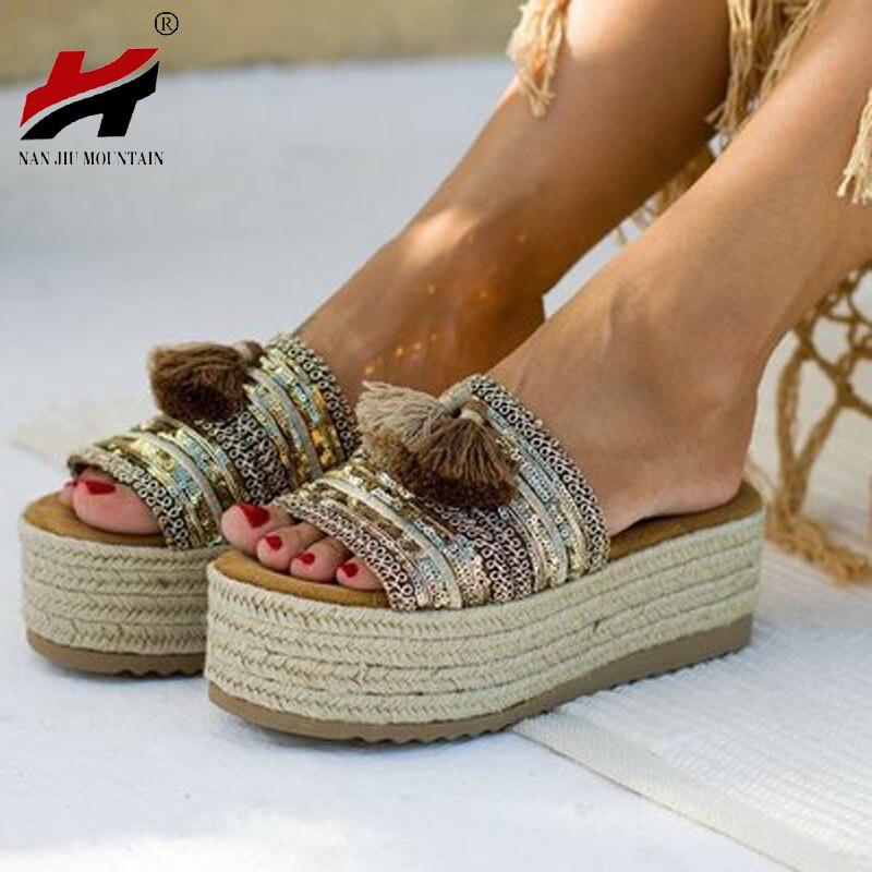 NAN JIU MOUNTAIN Summer Women Sandals Straw Retro Flat Heel Thick Open Hollow Open Toe Outside Wear Cool Slippers Large Size 34-