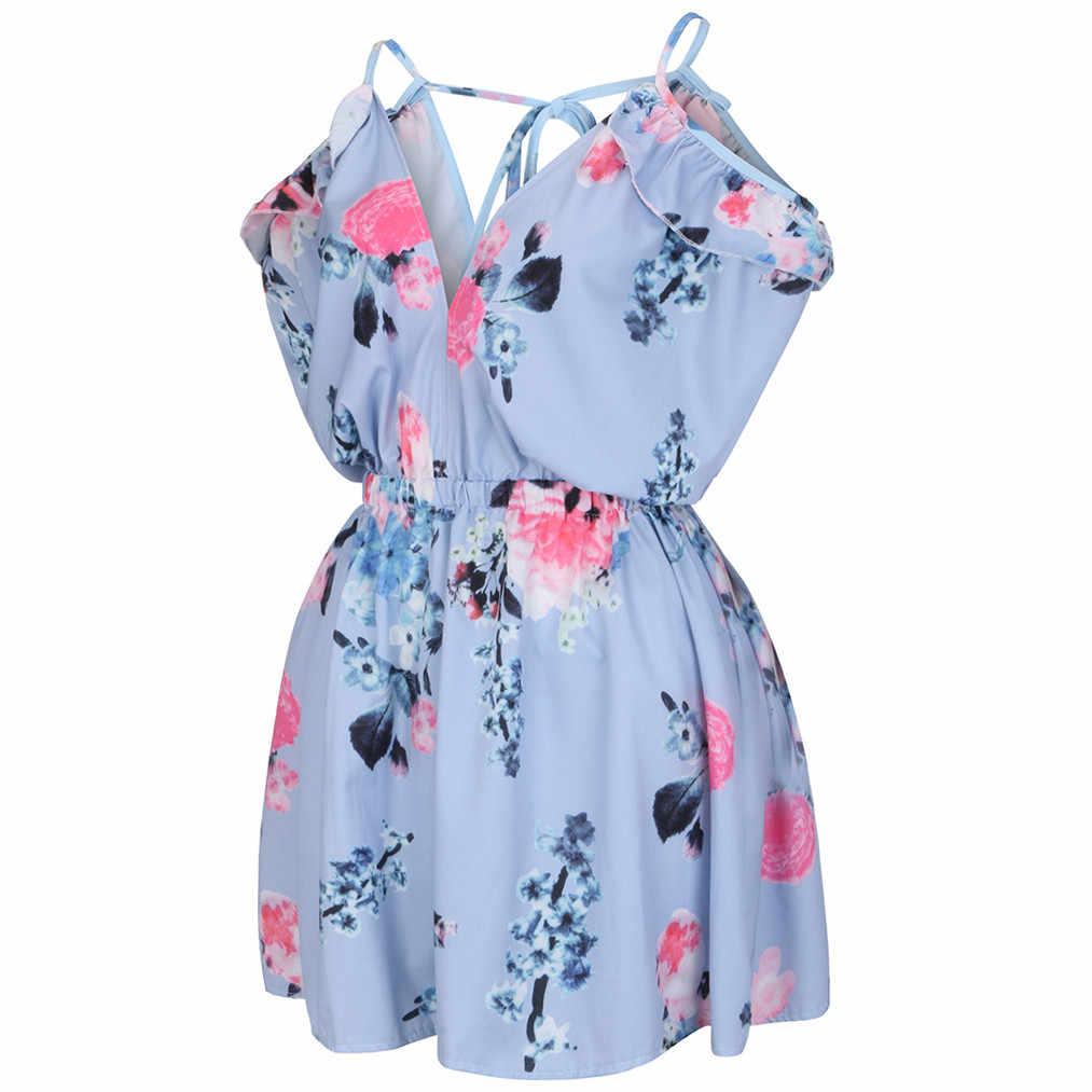 Пляжное женское платье летние каникулы печати платья, платья больших размеров с v-образным вырезом без рукавов и шорты без бретелек обтягивающее мини-платье femme 2019 #5