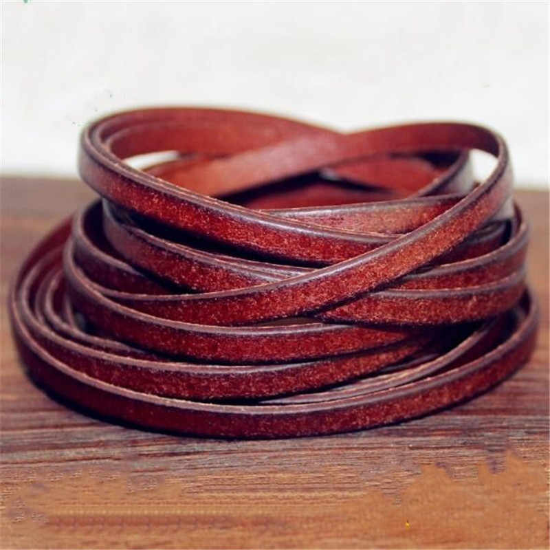 2m/lot 3mm 4mm 5mm 8mm 10mm Flat Genuine Leather Cord Coffee Cow Leather Cords String Rope Bracelet Findings DIY Jewelry