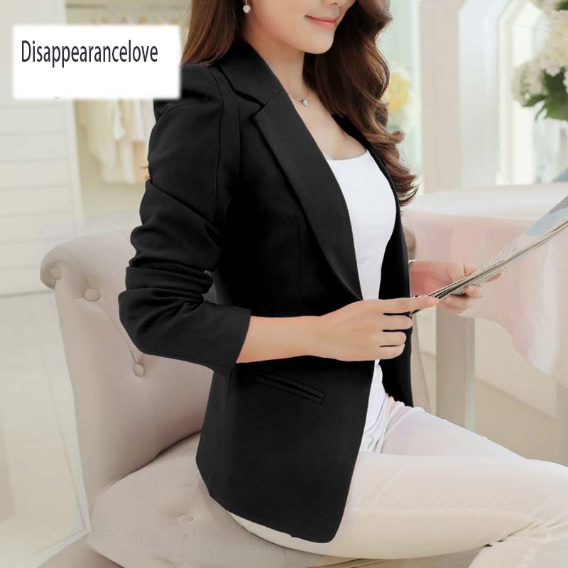 Disappearancelove Spring Women Slim Blazer Coat 2019 Plus Size Casual Jacket Long Sleeve One Button Suit Lady Blazers Work Wear