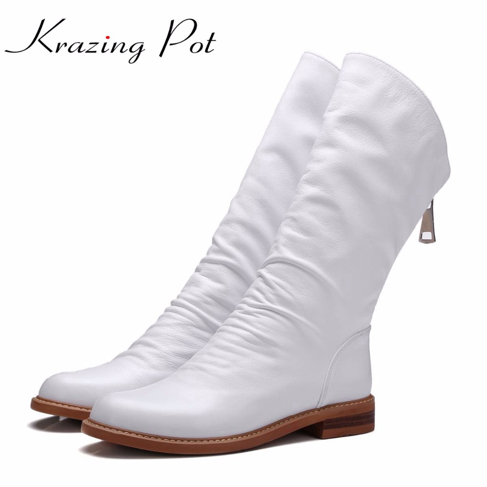 Krazing Pot full grain leather zipper keep warm round toe thick low heels concise style rock punk handmade mid-calf boots L88 ankle strap heels wrap full grain leather t low cut uppers british style high quality round toe single shoes with thick soles