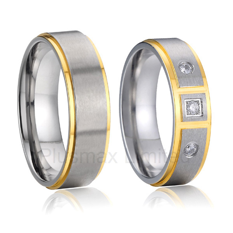 Titanium Couple Rings Pair Matching Wedding Band Set For Men And Women Alliance Unique Jewelry Anniversary