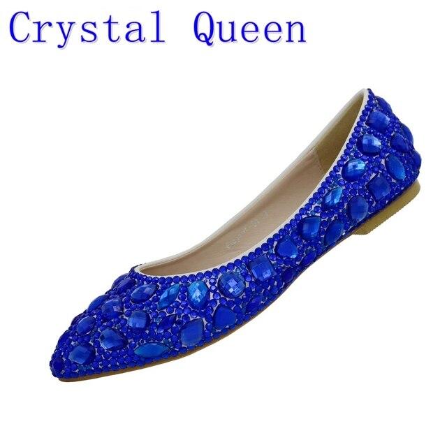Crystal Queen Rhinestone Crystle Cinderella Shoes Sexy Flat Heel Women Shoes  Wedding Shoes Flats Big Size