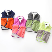 Winter New Kids Thickened Plus velvet Warm vest. Boys and girls stitching jacket  polar fleece tops
