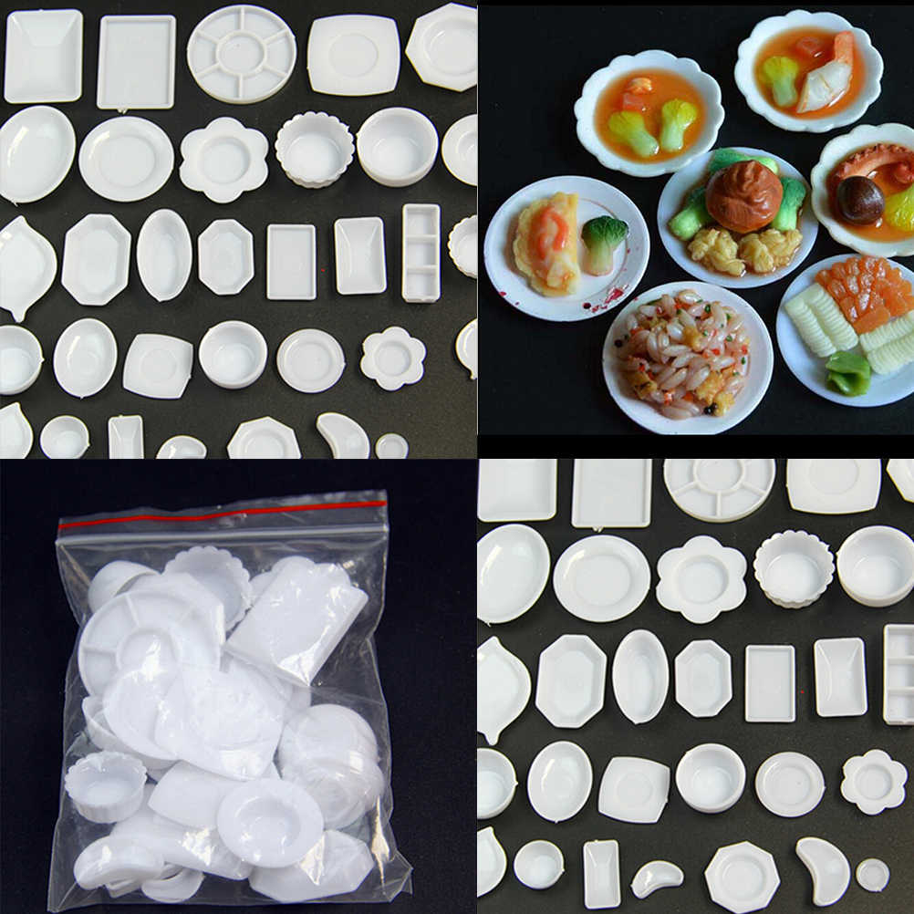33PCS/Set Doll Accessories Kitchen Mini Tableware Miniatures Cup Plate Dish Decor Toys For Kids Girls Wholesale