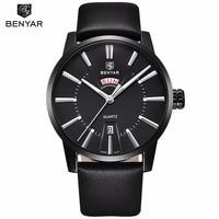 Relogio Masculino BENYAR Mens Watches Top Brand Luxury Waterproof Business Week Date Leather Quartz Wrist Watch Clock Man Saat