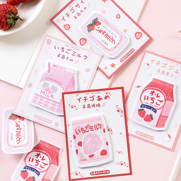 1 Set Memo Pads Sticky Notes Kawaii Cute Strawberry Paper Notepad Daliy Scrapbooking Stickers Office School stationery Bookmark